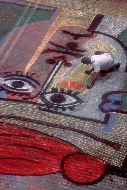 Seattle, Public Art, man making chalk drawing of a Picasso, Pike Place Market Street Fair, Seattle, Washington State,