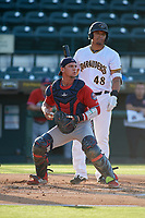 Fort Myers Miracle catcher Ben Rortvedt (15) checks the runner in front of batter Jose Osuna (48) during a Florida State League game against the Bradenton Marauders on April 23, 2019 at LECOM Park in Bradenton, Florida.  Fort Myers defeated Bradenton 2-1.  (Mike Janes/Four Seam Images)