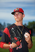 Batavia Muckdogs pitcher Shane Sawczak (33) poses for a photo before a game against the West Virginia Black Bears on June 30, 2016 at Dwyer Stadium in Batavia, New York.  Batavia defeated West Virginia 4-3.  (Mike Janes/Four Seam Images)