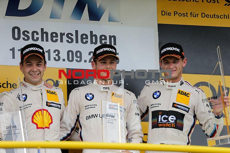 DTM 2015, 07.Lauf Oschersleben, 11.09. - 13.09.15 <br /> Podium:<br /> 2.Platz f&uuml;r Augusto Farfus (BRA#18) BMW Team RBM BMW M4 DTM ,<br /> Feiert seinen ersten Sieg in der DTM Tom Blomqvist (SWE#31) BMW Team RBM BMW M4 DTM,<br /> 3.Platz f&uuml;r Marco Wittmann (DEU#1) BMW Team RMG BMW M4 DTM <br /> <br /> <br /> <br /> <br /> Foto &copy; nordphoto /  Bratic