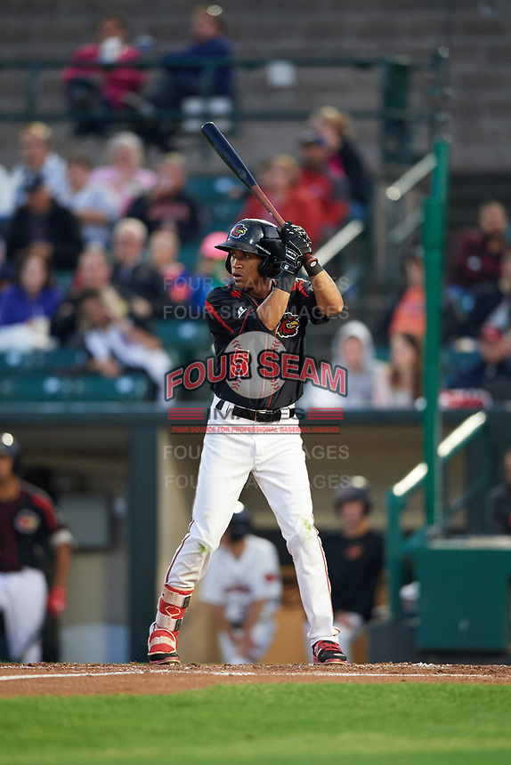 Rochester Red Wings shortstop Engelb Vielma (5) at bat during a game against the Buffalo Bisons on August 25, 2017 at Frontier Field in Rochester, New York.  Buffalo defeated Rochester 2-1 in eleven innings.  (Mike Janes/Four Seam Images)