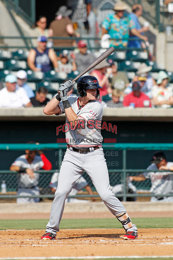 Hickory Crawdads designated hitter Sam Huff (27) at bat during a game against the Charleston Riverdogs at the Joseph P. Riley Ballpark in Charleston, South Carolina.  Hickory defeated Charleston 8-7. (Robert Gurganus/Four Seam Images)