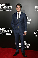 "LOS ANGELES - JAN 18:  Dylan O'Brien at the ""Maze Runner: The Death Cure"" Fan Screening at AMC 15 on January 18, 2018 in Century City, CA"