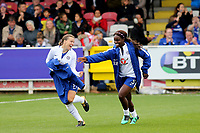 Fran Kirby and Eniola Aluko of Chelsea Ladies share a joke pre-match during Chelsea Ladies vs Liverpool Ladies, FA Women's Super League FA WSL1 Football at Kingsmeadow on 7th October 2017