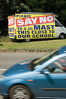 Campaign against a mobile phone mast being built close to a school.