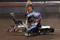 Heat 6: Kim Nilsson (blue) crashes out with Jacob Thorsell (yellow) - Lakeside Hammers vs Peterborough Panthers - Sky Sports Elite League Speedway at Arena Essex Raceway, Purfleet - 14/09/12 - MANDATORY CREDIT: Gavin Ellis/TGSPHOTO - Self billing applies where appropriate - 0845 094 6026 - contact@tgsphoto.co.uk - NO UNPAID USE.