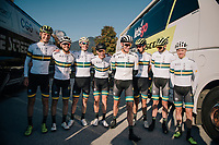 Team Australia pre-race<br /> <br /> MEN ELITE ROAD RACE<br /> Kufstein to Innsbruck: 258.5 km<br /> <br /> UCI 2018 Road World Championships<br /> Innsbruck - Tirol / Austria