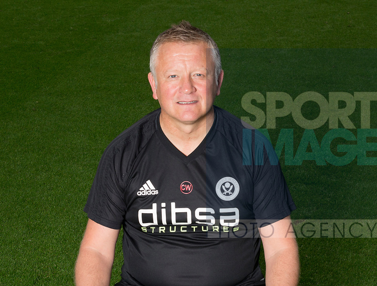 Chris Wilder of Sheffield Utd during the 2017/18 Photocall at Bramall Lane Stadium, Sheffield. Picture date 7th September 2017. Picture credit should read: Simon Bellis/Sportimage