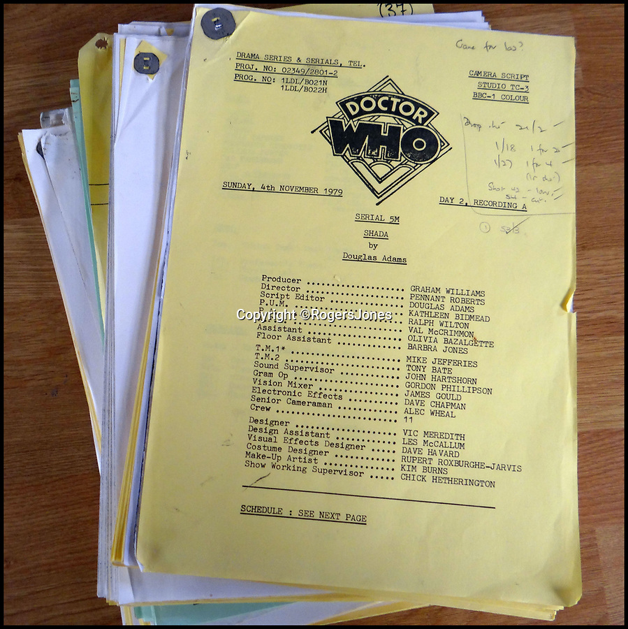 BNPS.co.uk (01202 558833)Pic: RogersJones/BNPS<br /> <br /> The unique 1979 Doctor Who 'Shada' directors scripts.<br /> <br /> The unique directors scripts from the 'lost' Doctor Who series that never aired almost 40 years ago is expected to get fans of the Time Lord excited when they go under the hammer.<br /> <br /> The unique papers are from the 1979 Shada story - written by Hitchhiker's Guide to the Galaxy author Douglas Adams and starring Tom Baker as the Doctor - which was left unfinished because of BBC strikes.<br /> <br /> The scripts, which have pencil-scribbled notes by the director Pennant Roberts, are being sold for charity by his widow, Betsan Roberts, in aid of Shelter Cymru.<br /> <br /> They will be sold by Rogers Jones Co auctioneers in Cardiff, Glamorgan, on March 2 and are expected to fetch at least £400.