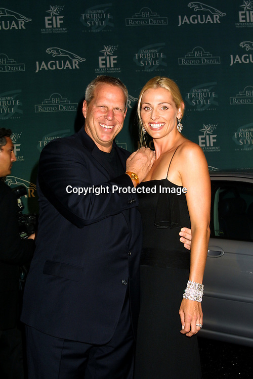 "©2002  KATHY HUTCHINS  / HUTCHINS PHOTO.""JAGUAR'S A TRIBUTE TO STYLE ON RODEO DRIVE"" GALA.SEPTEMBER 23, 2002.BEVERLY HILLS, CA. STEVE TISCH AND JAMIE TISCH"
