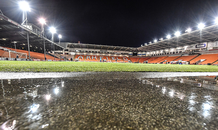 A general view of the Bloomfield Road, home of Blackpool<br /> <br /> Photographer Dave Howarth/CameraSport<br /> <br /> The Emirates FA Cup Second Round Replay - Blackpool v Solihull Moors - Tuesday 18th December 2018 - Bloomfield Road - Blackpool<br />  <br /> World Copyright © 2018 CameraSport. All rights reserved. 43 Linden Ave. Countesthorpe. Leicester. England. LE8 5PG - Tel: +44 (0) 116 277 4147 - admin@camerasport.com - www.camerasport.com