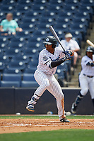 Tampa Tarpons Isiah Gilliam (24) at bat during a Florida State League game against the Lakeland Flying Tigers on April 7, 2019 at George M. Steinbrenner Field in Tampa, Florida.  Tampa defeated Lakeland 3-2.  (Mike Janes/Four Seam Images)