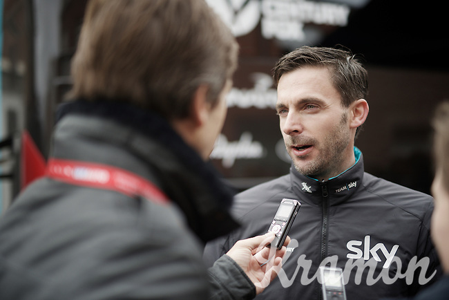 Team SKY DS Servais Knaven (NLD) interviewed at the start<br /> <br /> E3 - Harelbeke 2016