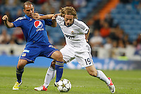26.09.2012 SPAIN - Real Madrid and Millonarios played  for the 34th Santiago Bernabéu Trophy. The score at was 8-0 with three goals from Kaká, Morata (2), Callejon (2) and Benzema (1). The picture show Luka Modric (Croatian midfielder of Real Madrid)