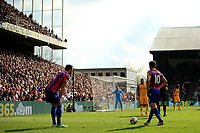 Luka Milivojevic of Crystal Palace and Andros Townsend  of Crystal Palace look over a free kick during Crystal Palace vs Brighton & Hove Albion, Premier League Football at Selhurst Park on 14th April 2018