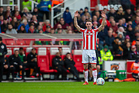 7th March 2020; Bet365 Stadium, Stoke, Staffordshire, England; English Championship Football, Stoke City versus Hull City; Jordan Thompson of Stoke City with his arms in the air to signal for a free kick