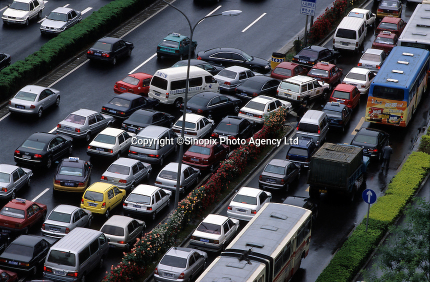 A congested street during rush hour in Beijing, China..16 May 2005