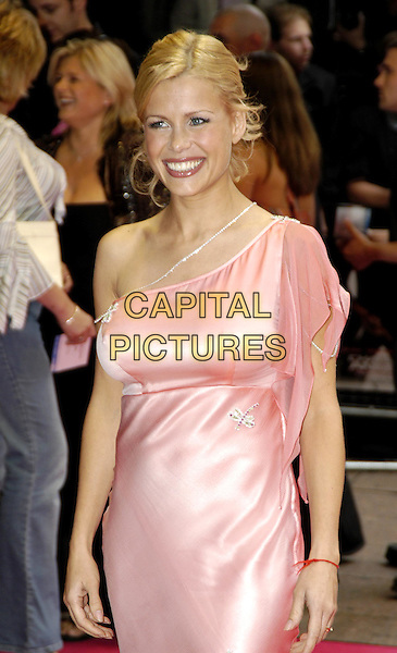 MELINDA MESSENGER.Charlie's Angels: Full Throttle premiere, Leicester Square.www.capitalpictures.com.sales@capitalpictures.com.©Capital Pictures.charlies angels, pink satin dress, fake boobs, breast enlargement, one-shoulder