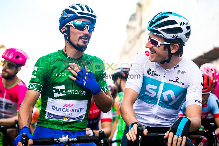 Picture by Alex Whitehead/SWpix.com - 09/09/2018 - Cycling - OVO Energy Tour of Britain - Stage 8: The London Stage - Julian Alaphilippe of QuickStep-Floors and Geraint Thomas of Team Sky.