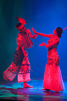 "Music and dress of the ethnic groups of Yunnan province is displayed during the ""Impression Lijiang"" performance."