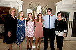 WATERTOWN, CT-052218JS30--Scholarship committee member Mary Donnarumma Sharnick with scholarship recipients Isabell Silvestre; Jenna Warren; Allison Santoli; Michael Austin and scholarship committee member Bianca Daniels, at the 96th annual scholarship awards for graduating seniors of Italian-American heritage sponsored by the Waterbury Chapter of UNICO National held at the Grand Oak Villa in Watertown. <br /> Jim Shannon Republican American