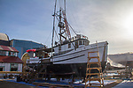Port Townsend, fishing boat Alaska, rigged for bottom fishing Black Cod and Halibut, wooden boats, Port Townsend bay, Olympic Peninsula, Washington State; Pacific Northwest; USA,