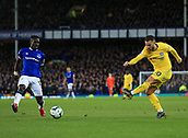 17th March 2019, Goodison Park, Liverpool, England; EPL Premier League Football, Everton versus Chelsea; Eden Hazard of Chelsea shoots at goal as Idrissa Gueye of Everton attempts to block