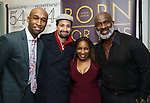"Donald Webber Jr., Lin-Manuel Miranda, Stephanie Mills and BeBe Winans backstage after a Song preview performance of the Bebe Winans Broadway Bound Musical ""Born For This"" at Feinstein's 54 Below on November 5, 2018 in New York City."