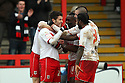 Dani Lopez of Stevenage (l) celebrates scoring his third goal with team-mates. Stevenage v Sheffield United - npower League 1 -  Lamex Stadium, Stevenage - 16th March, 2013. © Kevin Coleman 2013.. . . .