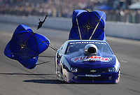 Sept. 29, 2012; Madison, IL, USA: NHRA pro stock driver Jason Line during qualifying for the Midwest Nationals at Gateway Motorsports Park. Mandatory Credit: Mark J. Rebilas-