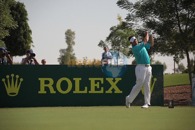 Dubai World Championship Golf. Earth Course,.Jumeirah Golf Estate, Dubai, U.A.E...Lee Westwood teeing off from the 4th during the first round of the Dubai World Golf championship..Photo: Fran Caffrey/www.golffile.ie...