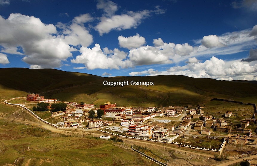Litang Monastery, Sichuan, China. Litang is a traditional Tibetan town and one of the highest towns in the world at around 4,000 meters..