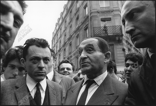 The 1968 May Events, left to right: Michel Rocard, Pierre Mendes-France, Georges Kiejman, en route for Charlety stadium, Paris, France, May 27, 1968