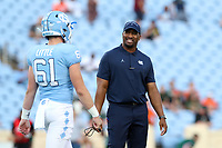 CHAPEL HILL, NC - SEPTEMBER 07: Cornerbacks Coach Dre Bly of the University of North Carolina during a game between University of Miami and University of North Carolina at Kenan Memorial Stadium on September 07, 2019 in Chapel Hill, North Carolina.