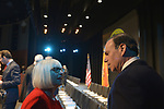 Hempstead, New York, USA. January 1, 2018. L-R, JUDI BOSWORTH, the Town of North Hempstead Supervisor, and JAY JACOBS, the Nassau County Democratic Committee Chairmand, talk before the Swearing-In of Laura Gillen as Hempstead Town Supervisor, and Sylvia Cabana as Hempstead Town Clerk at Hofstra University.