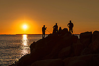Photographers shooting a coastal sunset, Maine, USA