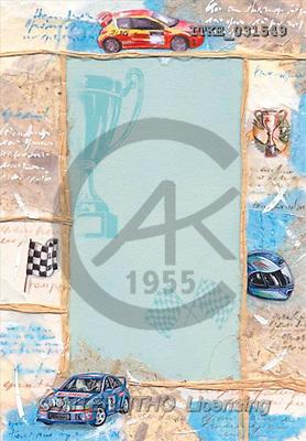 Isabella, MASCULIN, paintings, blue car, flag(ITKE031549,#M#) Männer, masculino, illustrations, pinturas , hombres ,everyday