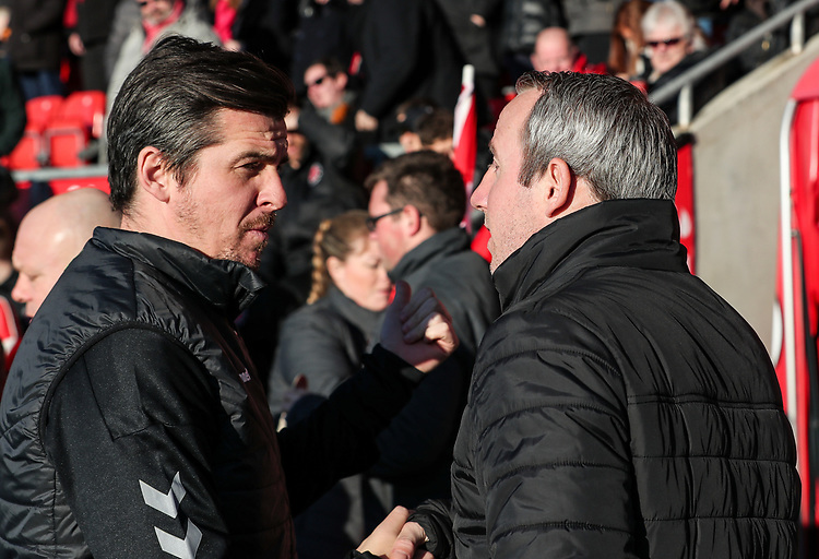 Fleetwood Town's manager Joey Barton greets Charlton Athletic's manager Lee Bowyer  <br /> <br /> Photographer Andrew Kearns/CameraSport<br /> <br /> The EFL Sky Bet League One - Fleetwood Town v Charlton Athletic - Saturday 2nd February 2019 - Highbury Stadium - Fleetwood<br /> <br /> World Copyright © 2019 CameraSport. All rights reserved. 43 Linden Ave. Countesthorpe. Leicester. England. LE8 5PG - Tel: +44 (0) 116 277 4147 - admin@camerasport.com - www.camerasport.com