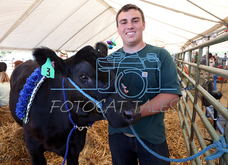 Josh Smith, 17, of Washoe Valley, and Tank took Grand Champion honors at the NV150 Fair at Fuji Park, in Carson City, Nev., on Saturday, Aug. 2, 2014.<br /> Photo by Cathleen Allison/Carson City Visitors Bureau