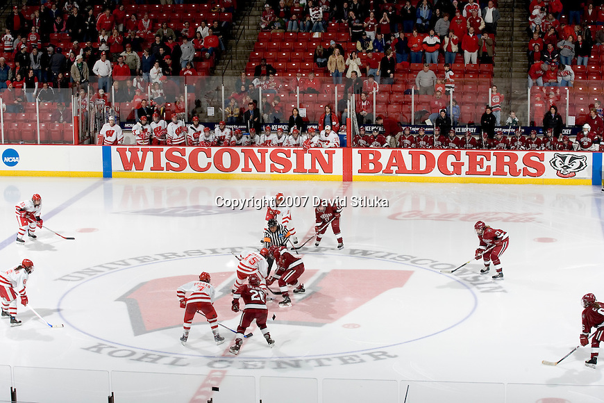 MADISON, WI - MARCH 10: The Wisconsin Badgers women's hockey team and the Harvard Crimson compete during their NCAA tournament game at the Kohl Center on March 10, 2007 in Madison, Wisconsin. The Badgers beat the Crimson 1-0 in the 4th overtime. (Photo by David Stluka)