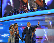 September 6, 2012  (Charlotte, North Carolina) President Barack Obama and first family pass photographers on the last night of the 2012 Democratic National Convention In Charlotte.   (Photo by Don Baxter/Media Images International)