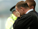 16/09/2006        Copyright Pic: James Stewart.File Name : sct_jspa19_falkirk_v_aberdeen.FALKIRK MANAGER JOHN HUGHES CAN'T BEAR TO WATCH HIS TEAM GET BEAT AGAIN.....Payments to :.James Stewart Photo Agency 19 Carronlea Drive, Falkirk. FK2 8DN      Vat Reg No. 607 6932 25.Office     : +44 (0)1324 570906     .Mobile   : +44 (0)7721 416997.Fax         : +44 (0)1324 570906.E-mail  :  jim@jspa.co.uk.If you require further information then contact Jim Stewart on any of the numbers above.........