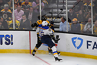 June 12, 2019: St. Louis Blues defenseman Colton Parayko (55) checks Boston Bruins center Patrice Bergeron (37)  during game 7 of the NHL Stanley Cup Finals between the St Louis Blues and the Boston Bruins held at TD Garden, in Boston, Mass.  The Saint Louis Blues defeat the Boston Bruins 4-1 in game 7 to win the 2019 Stanley Cup Championship.  Eric Canha/CSM.