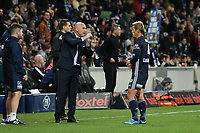 Melbourne, May 3, 2019 - Former Japanese International player Keisuke Honda (4) of Melbourne Victory in discussion with his manager Kevin Muscat in the Elimination Final of the A-League between Melbourne Victory and Wellington Phoenix at AAMI Park, Melbourne, Australia. Photo Sydney Low