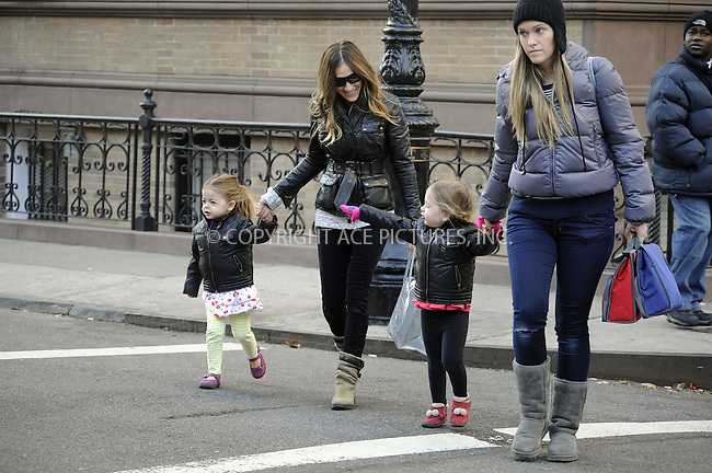 WWW.ACEPIXS.COM....January 7 2013, New York City....Actress Sarah Jessica Parker takes twins Marion and Tabitha to school on January 7 2013 in New York City......By Line: Curtis Means/ACE Pictures......ACE Pictures, Inc...tel: 646 769 0430..Email: info@acepixs.com..www.acepixs.com