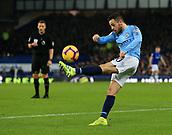 6th February 2019, Goodison Park, Liverpool, England; EPL Premier League Football, Everton versus Manchester City; Bernado Silva of Manchester City volleys a clearance upfield