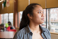 Cynthia Tim, 20, is a second year student at Middlesex Community College studying Business. A Cambodian-American, she is seen here in the school's cafeteria on Thurs., Feb. 15, 2018.