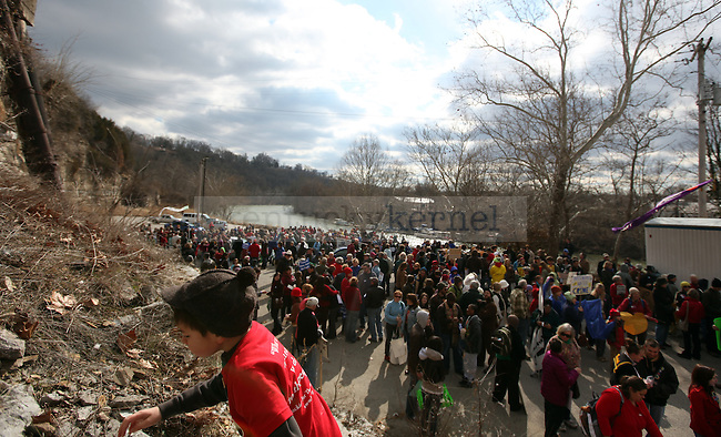 """Protesters gather by the river before the """"I Love Mountains"""" rally at the capitol building in Frankfort on Valentine's Day.  Photo by Britney McIntosh   Staff"""