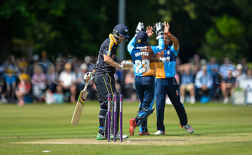 12.07.2015.  Chesterfield, England. Natwest T20 Blast. Derbyshire versus Yorkshire. Yorkshire's Glen Maxwell is bowled by Shivsinh Thakor.