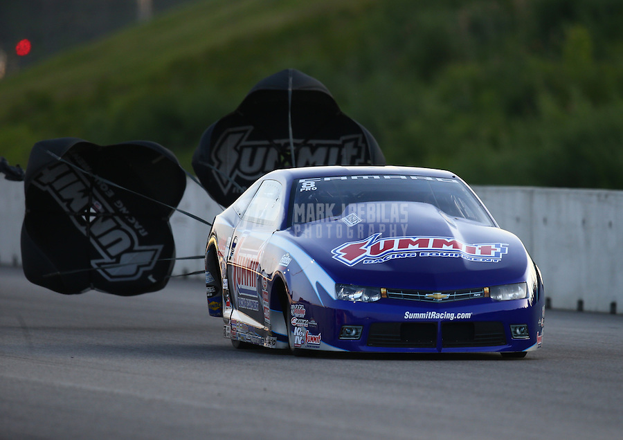Jun 3, 2016; Epping , NH, USA; NHRA pro stock driver Jason Line during qualifying for the New England Nationals at New England Dragway. Mandatory Credit: Mark J. Rebilas-USA TODAY Sports